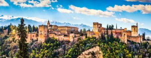 Panoramic view of famous Alhambra de Granada, Andalusia, Spain