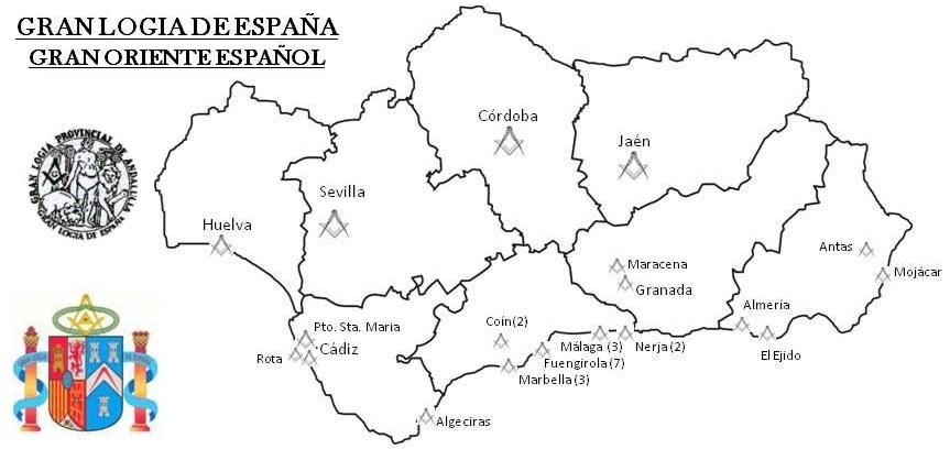 Mapa logias de Andalucía